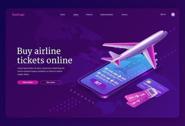 Koop een vliegticket online isometrische bestemmingspagina met vliegtuig op landingsbaan