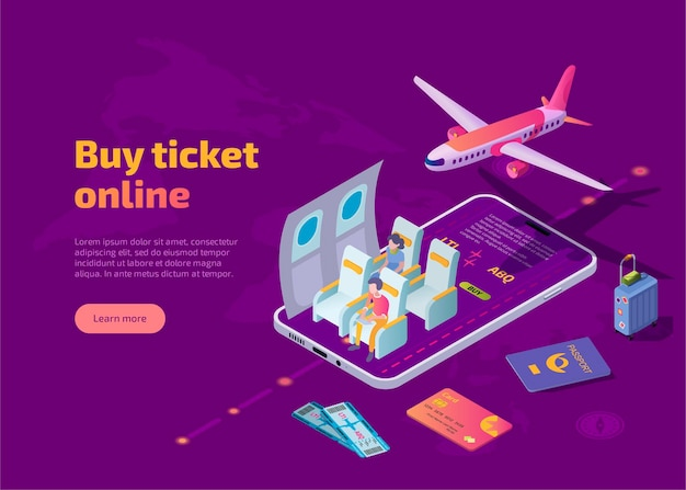 Koop een vliegticket online isometrische bestemmingspagina