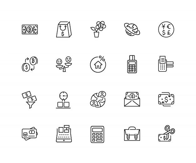 Koop en verkoop pictogrammen. set van twintig lijn pictogrammen. aankoop, creditcard, korting.