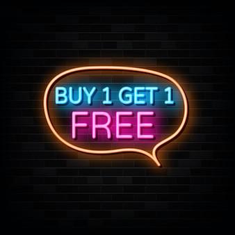 Koop er een en krijg er een gratis neonreclame ontwerpsjabloon neonstijl