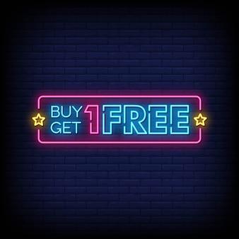 Koop er een ontvang een gratis neon-achtige tekst