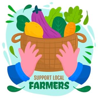 Koop groenten met lokale producten in de mand