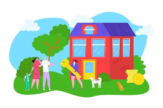 Koop huisfamilie die een nieuwe huisillustratie koopt