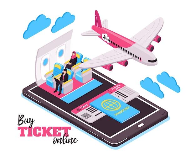 Koop kaartje online en reis per vliegtuig isometrisch illustratieconcept met vliegende vliegtuigpassagiers en grote smartphone