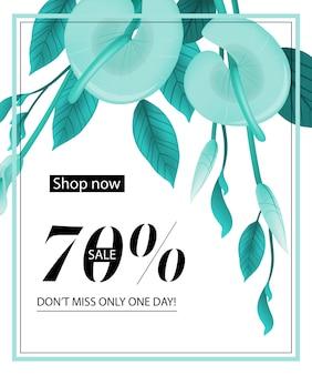 Koop nu, zeventig procent te koop, mis niet één dag, kortingsbon met calla lelie