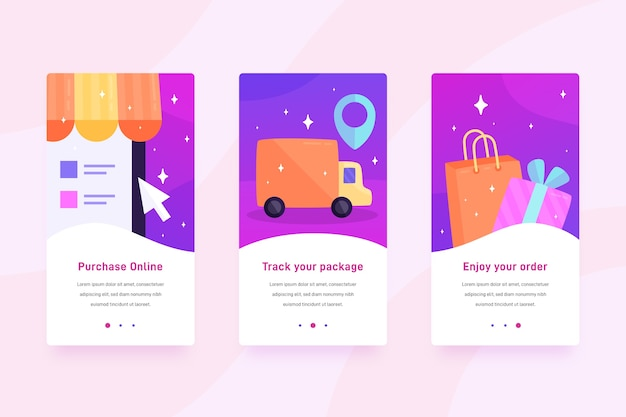 Koop online mobiele interface-ontwerp
