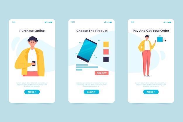 Koop online onboarding app-scherm
