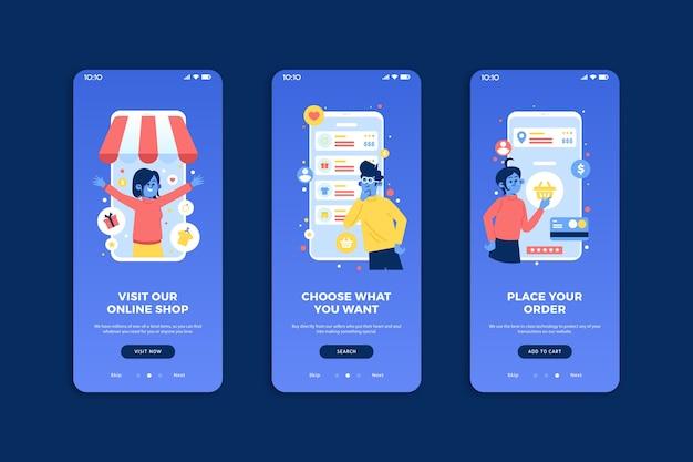 Koop online onboarding app schermen pack