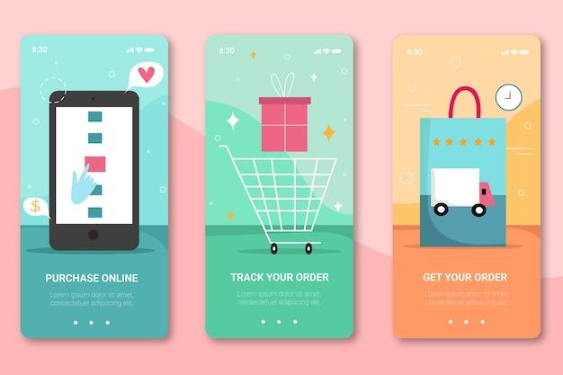 Koop online onboarding app-schermen voor mobiele telefoon