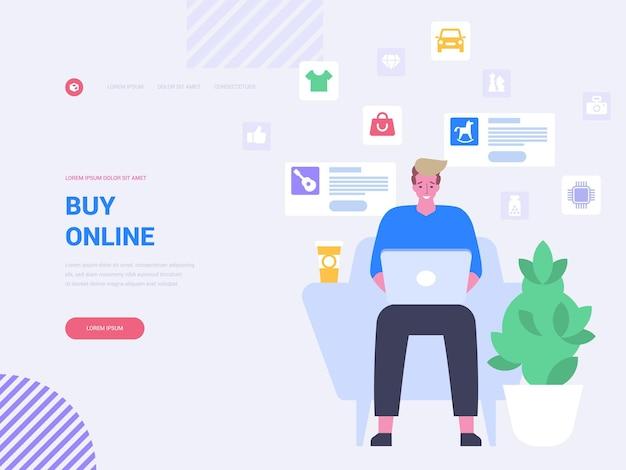 Koop online vectorsjabloon voor bestemmingspagina's. e-commerce website homepage interface idee met platte illustraties. digitale marketing. internet-app. online goederen bestellen webbanner cartoon concept
