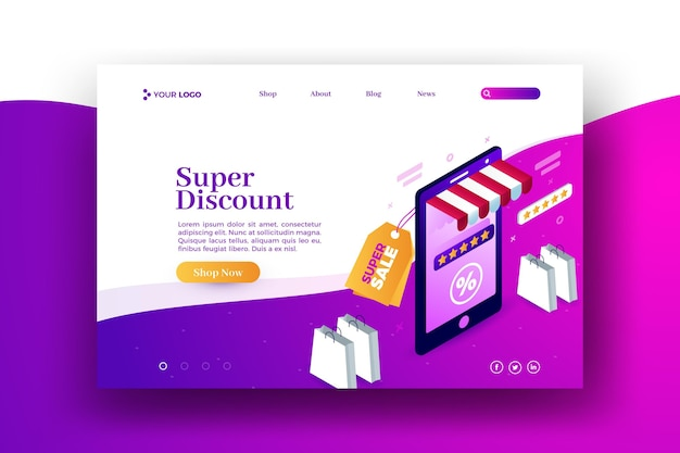 Koop online verkoop web-bestemmingspagina