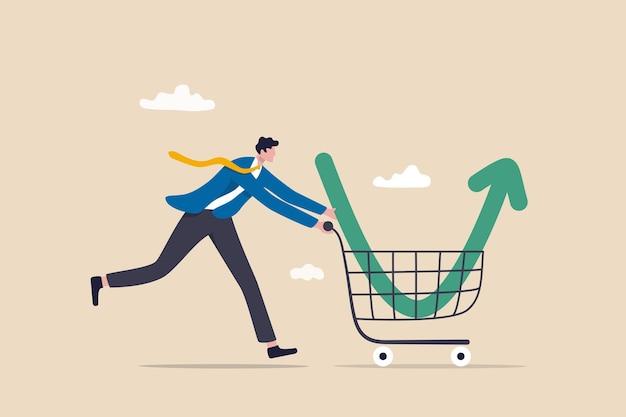 Koop op de dip, koop aandelen wanneer de prijs daalt, handelaarssignaal om te investeren, maak winst met het concept van de ineenstorting van de markt, slimme zakenmanbelegger koopt aandelen met een pijl naar beneden in het winkelwagentje.