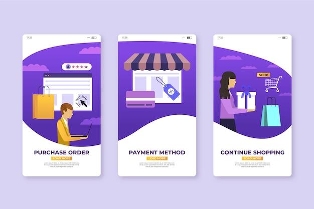 Koop productbestelling mobiele app-schermen