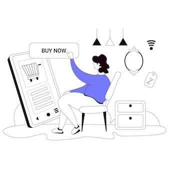 Koop thuis winkelen illustratie vlakke lijn