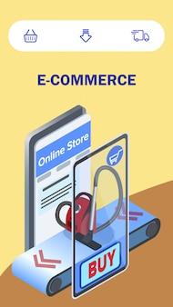 Koop toestellen e-commerce isometrische flyer sjabloon