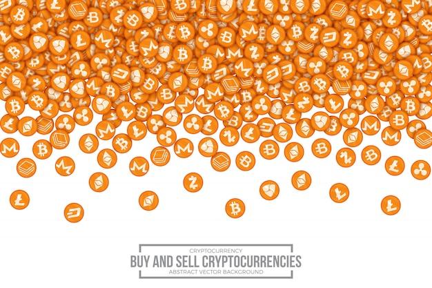 Koop verkopen cryptocurrencies conceptuele vectorillustratie