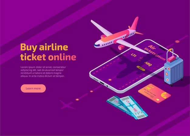 Koop vliegticket online isometrische illustratie vliegtuigreis-app voor mobiele telefoon
