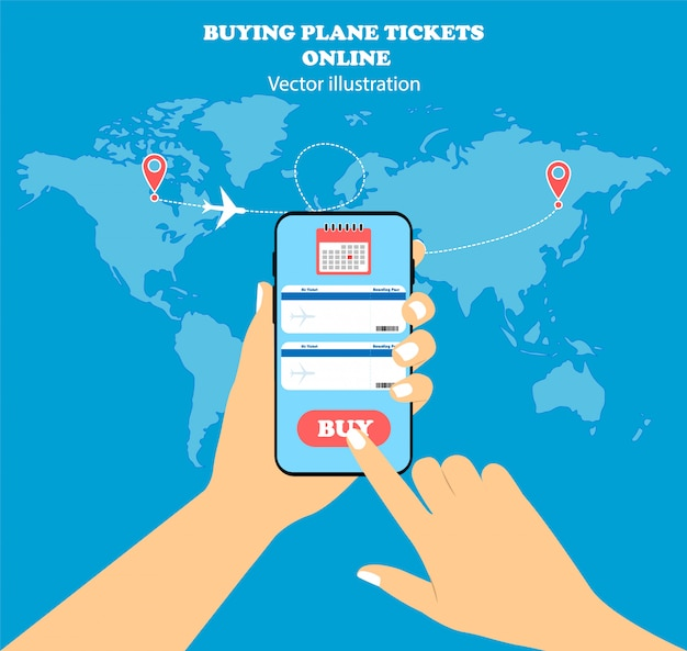 Koop vliegtickets online. in hand conceptentelefoon en kaart van de wereld.