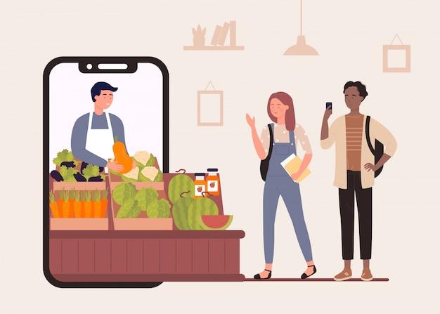 Koop voedsel in de online winkelillustratie van de boerderijmarkt, gelukkige stripfiguren die biologische groenten en fruit kopen op de achtergrond van de boerenwinkel