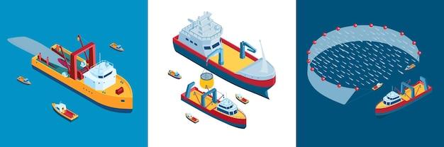 Koopvaardijschip illustratie set