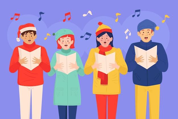 Koor van mensen die kerstlied zingen