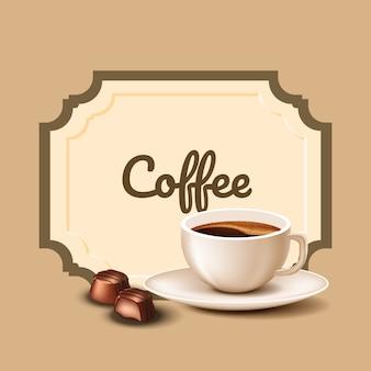 Kop koffie en chocolade snoepjes. koffietijd. natuurlijke arabica. vector illustratie. natuur samenstelling