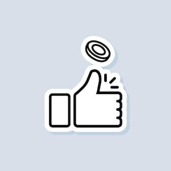 Kop of staart sticker. munt opgooien. duim omhoog pictogram. vector op geïsoleerde achtergrond. eps-10.