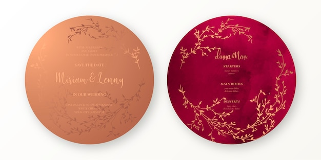 Koper en karmozijnrode bruiloft uitnodiging en menusjabloon