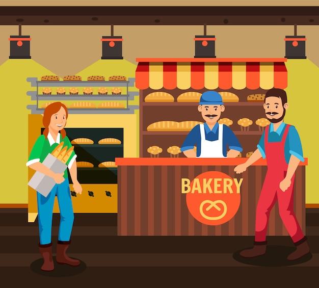Koper en verkoper bij bakkerij cartoon afbeelding