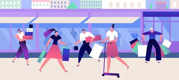Kopers bij modewinkel. winkelen mensen met dozen en tassen lopen straat in de buurt van outlet boetiek. modieuze kleding vector concept met platte mannen en vrouwen