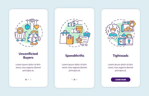 Kopers typen onboarding-paginascherm voor mobiele apps met concepten