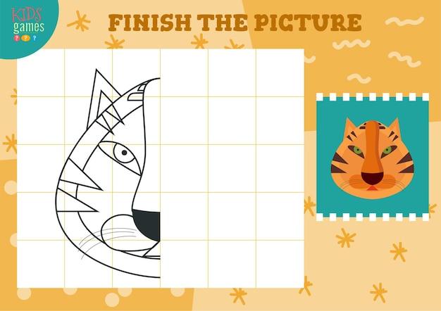 Kopieer afbeelding illustratie en kleur spel voor kleuters en schoolkinderen