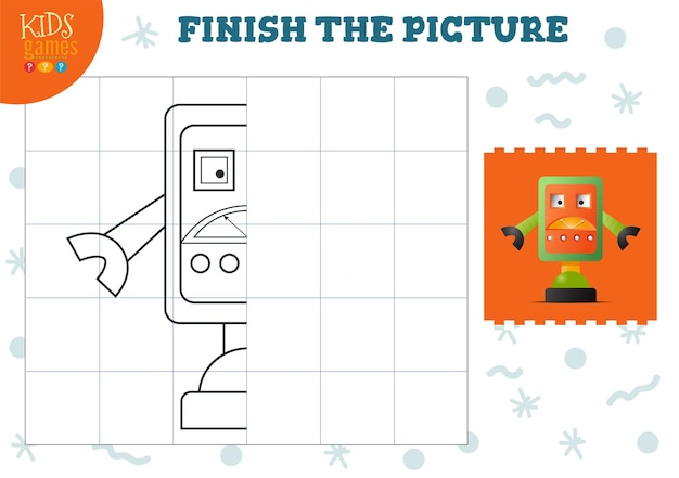 Kopieer afbeelding vectorillustratie. compleet en kleurspel voor kleuters en schoolkinderen. leuk humanoïde robotoverzicht voor teken- en onderwijsactiviteiten