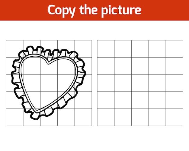Kopieer de afbeelding, educatief spel voor kinderen, kussen (hartvorm)