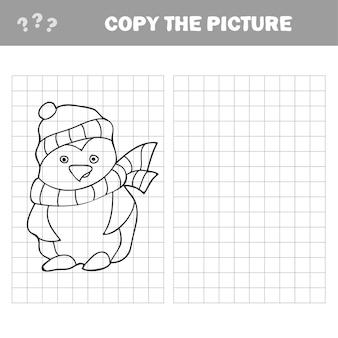 Kopieer de afbeelding en het kleurboek, educatief spel voor kinderen - pinguïn