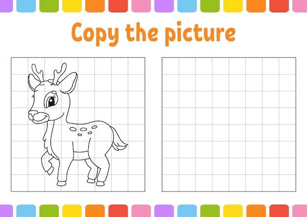 Kopieer de afbeelding. kleurboekpagina's voor kinderen. onderwijs ontwikkelt werkblad. spel voor kinderen.