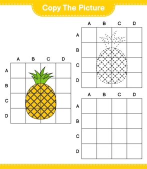 Kopieer de afbeelding, kopieer de afbeelding van ananas met behulp van rasterlijnen. educatief kinderspel, afdrukbaar werkblad