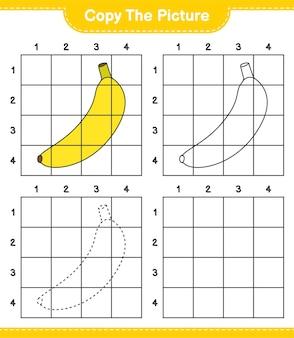 Kopieer de afbeelding, kopieer de afbeelding van banana met behulp van rasterlijnen. educatief kinderspel, afdrukbaar werkblad