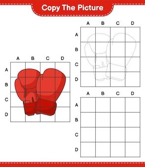 Kopieer de afbeelding kopieer de afbeelding van bokshandschoenen met rasterlijnen educatief kinderspel