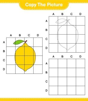 Kopieer de afbeelding, kopieer de afbeelding van citroen met behulp van rasterlijnen. educatief kinderspel, afdrukbaar werkblad