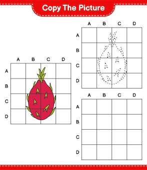 Kopieer de afbeelding, kopieer de afbeelding van dragon fruit met behulp van rasterlijnen. educatief kinderspel, afdrukbaar werkblad