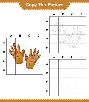 Kopieer de afbeelding kopieer de afbeelding van golfhandschoenen met rasterlijnen educatief kinderspel