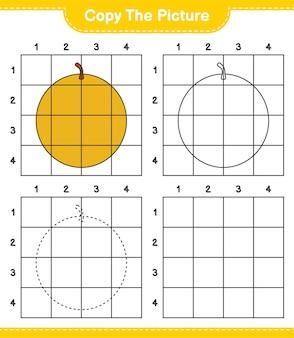 Kopieer de afbeelding, kopieer de afbeelding van honey melon met behulp van rasterlijnen. educatief kinderspel, afdrukbaar werkblad