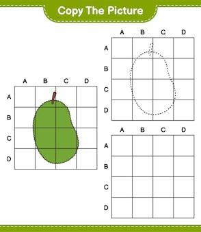 Kopieer de afbeelding, kopieer de afbeelding van jackfruit met behulp van rasterlijnen. educatief kinderspel, afdrukbaar werkblad