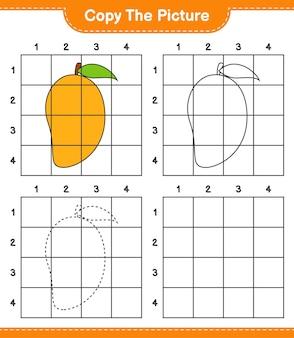 Kopieer de afbeelding, kopieer de afbeelding van mango met behulp van rasterlijnen. educatief kinderspel, afdrukbaar werkblad
