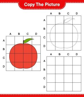 Kopieer de afbeelding, kopieer de afbeelding van nectarine met behulp van rasterlijnen. educatief kinderspel, afdrukbaar werkblad