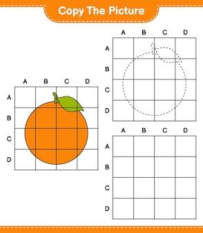 Kopieer de afbeelding, kopieer de afbeelding van oranje met behulp van rasterlijnen. educatief kinderspel, afdrukbaar werkblad