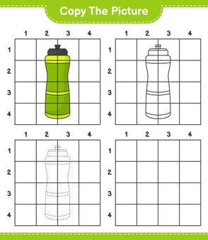 Kopieer de afbeelding kopieer de afbeelding van sport water bottle met rasterlijnen educatief kinderspel