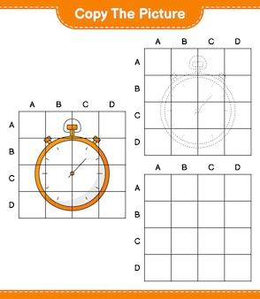 Kopieer de afbeelding kopieer de afbeelding van stopwatch met rasterlijnen educatief kinderspel