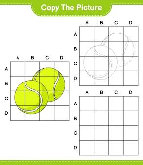 Kopieer de afbeelding kopieer de afbeelding van tennisbal met rasterlijnen educatief spel voor kinderen